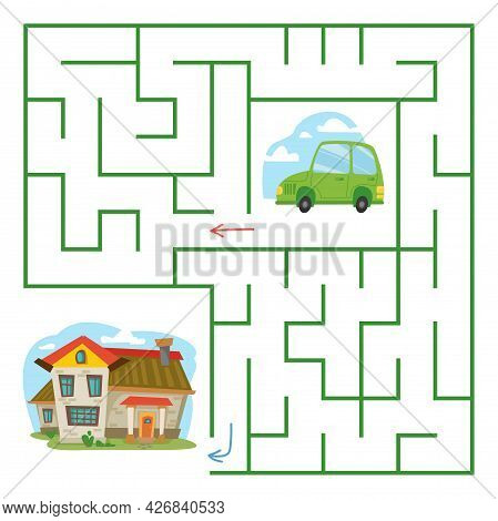 A Green Cartoon Car Drives Home Through The Maze. Square Labyrinth With Transport For Children. Chil