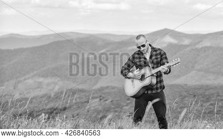 Acoustic Music. Musician Hiker Find Inspiration In Mountains. Keep Calm And Play Guitar. Man With Gu