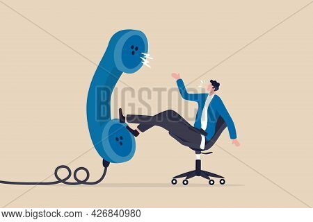 Job Interview Via Phone Call Or Conference Meeting On Telephone Concept, Smart Confidence Businessma