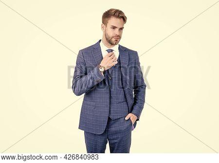 Businessman Wear Blue Three-piece Suit With Necktie In Formal Fashion Style, Business