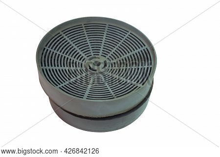 Stack Of Range Hood Carbon Filters . Replacement Charcoal Vent Filters. Isolated On White Background