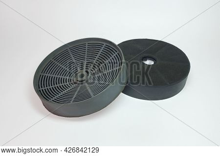 Range Hood Carbon Filters Pair. Replacement Charcoal Vent Filters. Isolated On White Background