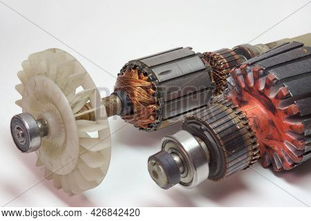 Ball Bearing And Impeller Of Armature Of Grass Trimmer And Washing Machine Engines Closeup