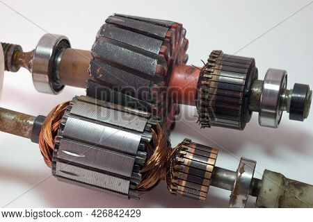 Cores Of Armature Of Yard Trimmer And Washing Machine Engines Closeup