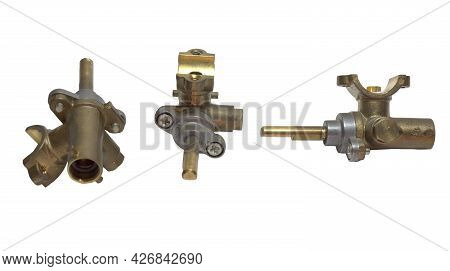 Brass Surface Burner Valves From Three Sides. Gas Stove Spare Parts. Isolated On White Background, W