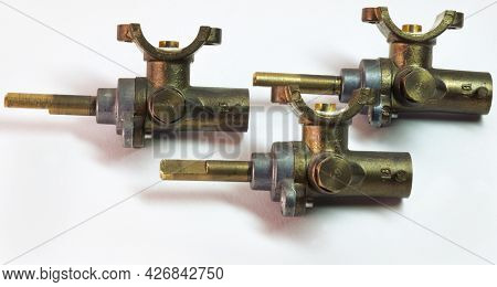 Brass Surface Burner Valves From Side. Gas Stove Spare Parts