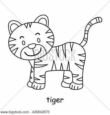 Children Coloring On The Theme Of Animal Vector, Tiger