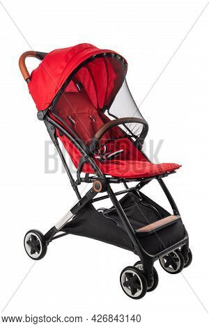 Baby Pram, Modern Red Stroller Isolated On White With Clipping Path