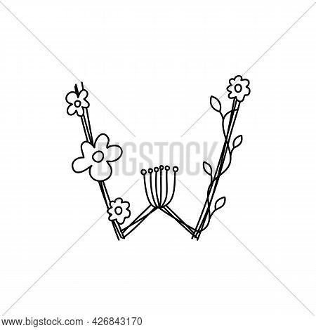 Vintage Floral Bold Letter W Logo Spring. Classic Summer Letter Design Vectors With Black Color And