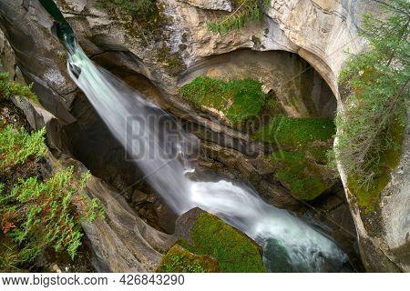 Maligne Canyon Waterfall Alberta. A Waterfall In Maligne Canyon. Jasper National Park. Alberta, Cana