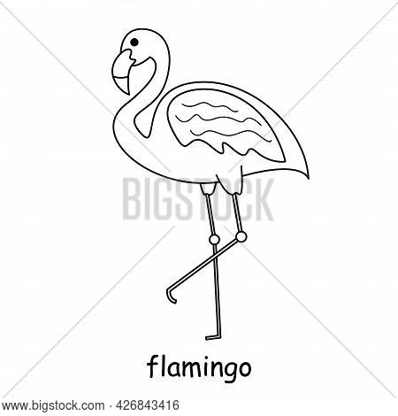 Children Coloring On The Theme Of Animal Vector, Flamingo