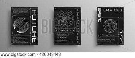 Set Of Retrofuturistic Posters With Hud Elements, Radial Figure, Polar Grid, And Wireframe 3d Sphere