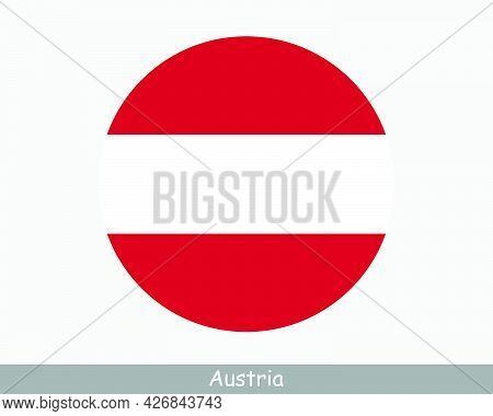 Austria Round Circle Flag. Austrian Circular Button Banner Icon. Eps Vector