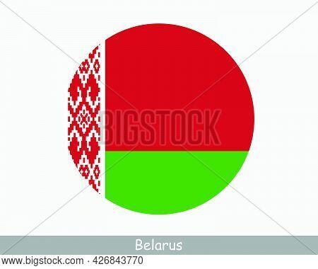 Belarus Round Circle Flag. Belarusian Circular Button Banner Icon. Eps Vector