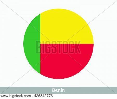 Benin Round Circle Flag. Beninese Circular Button Banner Icon. Eps Vector