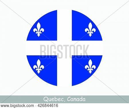 Quebec Canada Round Circle Flag. Qc Canadian Province Circular Button Banner Icon. Eps Vector