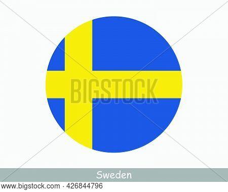 Sweden Round Circle Flag. Swedish Circular Button Banner Icon. Swede Flag Eps Vector