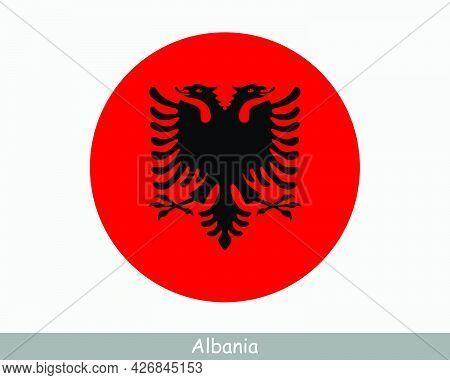 Albania Round Circle Flag. Albanian Circular Button Banner Icon. Eps Vector