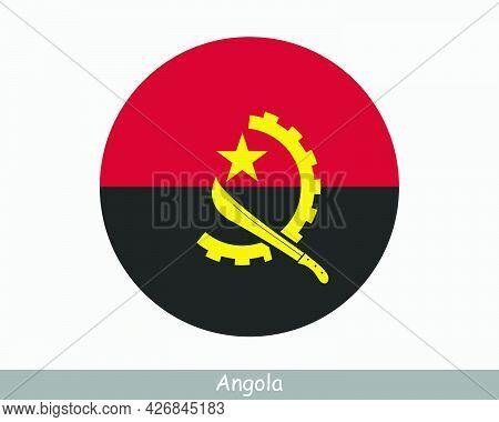 Angola Round Circle Flag. Angolan Circular Button Banner Icon. Eps Vector