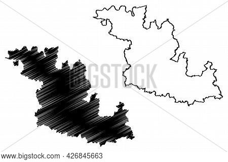 Main Tauber District (federal Republic Of Germany, Rural District, Baden-wurttemberg State) Map Vect