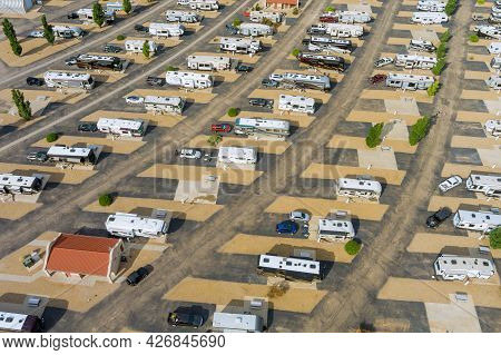 Camping With Rv Trailer On Resort Parking Camping Park With Travel Rv Clubhouse