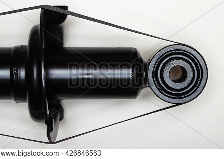 The Shock Absorber Mount For The Machine Lies On A Flat Surface. Spare Parts For The Repair Of The U