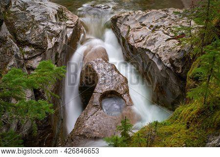 Maligne Canyon Waterfall Canada. A Waterfall In Maligne Canyon. Jasper National Park. Alberta, Canad