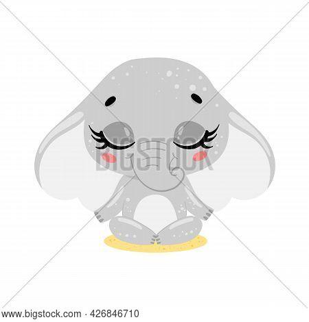 Vector Flat Cute Cartoon Doodle Elephant Meditation. Tropical Jungle Safari Animals Meditate. Animal
