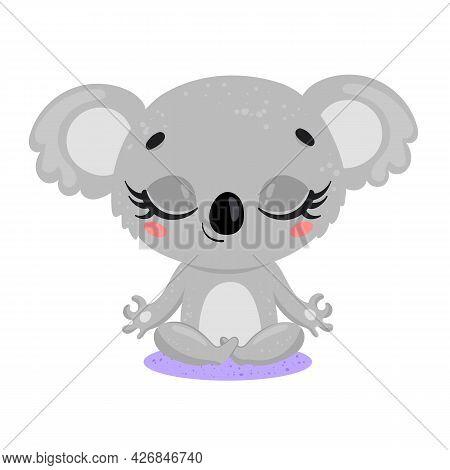 Vector Flat Cute Cartoon Doodle Koala Meditation. Tropical Jungle Safari Animals Meditate. Animals Y