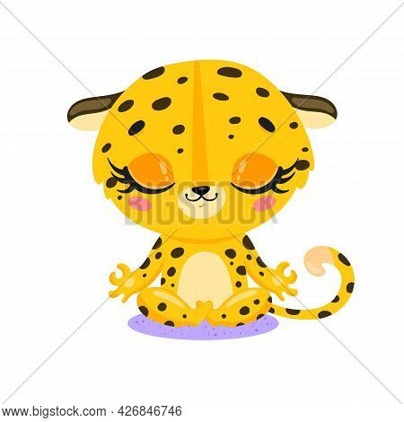Vector Flat Cute Cartoon Doodle Leopard Cheetah Meditation. Tropical Jungle Safari Animals Meditate.