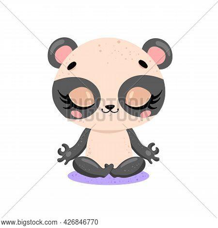 Vector Flat Cute Cartoon Doodle Panda Bear Meditation. Tropical Jungle Safari Animals Meditate. Anim