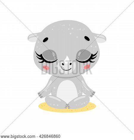 Vector Flat Cute Cartoon Doodle Rhino Meditation. Tropical Jungle Safari Animals Meditate. Animals Y