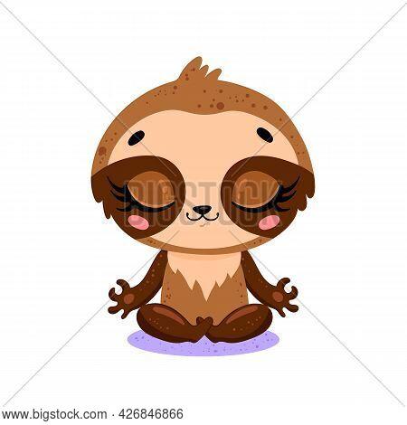 Vector Flat Cute Cartoon Doodle Sloth Meditation. Tropical Jungle Safari Animals Meditate. Animals Y