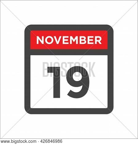 November 19 Calendar Icon W Day Of Month