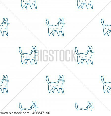 Seamless Pattern With Cute Cartoon Cats On White Background. Funny Animals Wallpaper. Vector Doodle