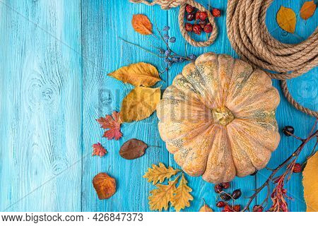 Bright, Autumn, Festive Background With Pumpkin, Berries And Leaves On A Blue Background. Top View,
