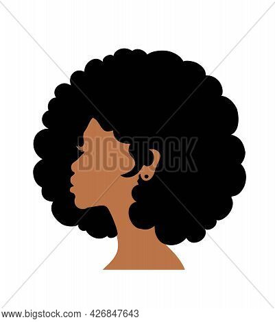 Black Afro African American Girl Woman Lady Vector Portrait Head Face Silhouette With Natural Waves