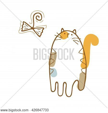 Hand Drawn Vector Illustration Of Three-colored Cute Kitten And Cats Toy. Perfect For Scrapbooking,