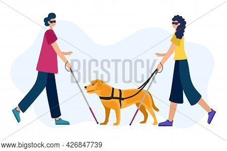 Vector Illustration Of People With Disabilities In A Cartoon Style. A Blind Woman And A Blind Man Wi