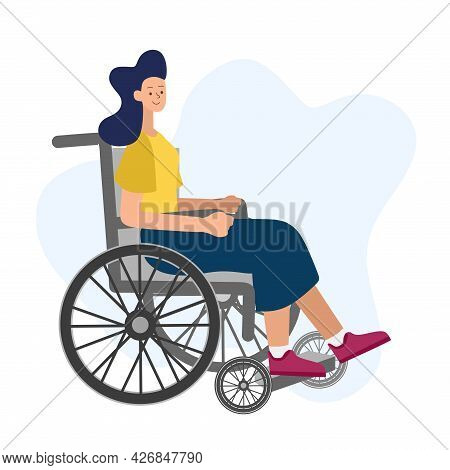 Vector Illustration Of People With Disabilities In A Cartoon Style. Disabled Girl In A Wheelchair On
