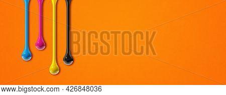 3d Cmyk Ink Drops Isolated On Orange Paper Background. Horizontal Banner. Illustration