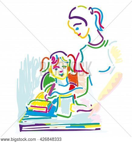 Pretty Mom Carefully Accompany. Mother Carefully Accompany Sweet Little Daughter Study.