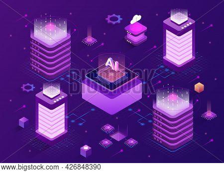 Network Mainframe Infrastructure Concept. Site Data Processing Center. Hosting Server. Communication