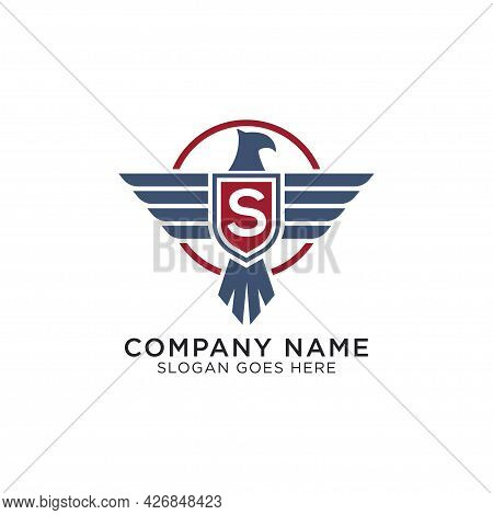 American Eagle With Initial Letter S, Hawk Shield Logo Design Vector