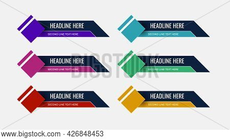 Graphic Set Of Broadcast News Lower Thirds Banner For Television, Video And Media Channel. Modern, S