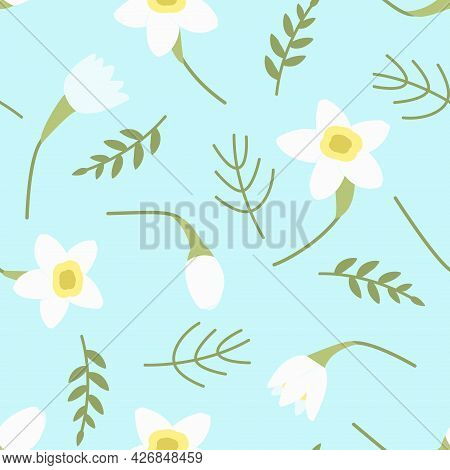 Seamless Pattern With Daffodils On A Gentle Blue Background. Pattern With White Daffodils For Design
