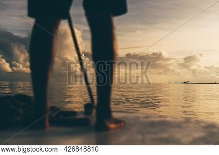 A Stunning Sunset Seascape With Shallow Depth Of Field And Selective Focus On A Small Island In The