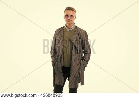 Fashionable Man. Well Groomed Mature Guy Isolated On White. Businessman Wear Casual Business Clothes
