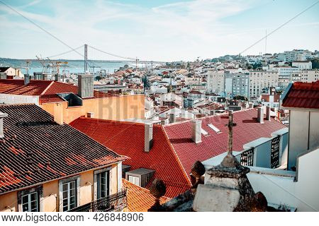 View Of A Sunny Lisbon Cityscape From The Roof; A Portuguese Urban Landscape With Plenty Of Antique,