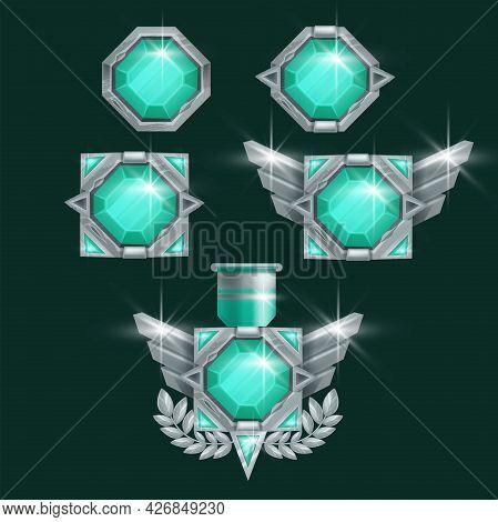 Game Winner Badge Set, Vector Rank Award Silver Medal Kit, Ui Achievement Prize Illustration, Green